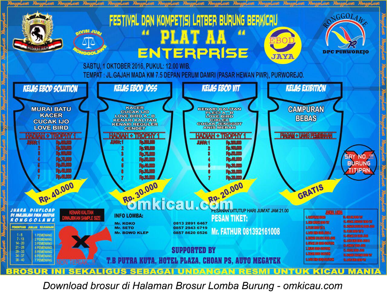 Brosur Latber Burung Berkicau Plat AA Enterprise, Purworejo, 1 Oktober 2016