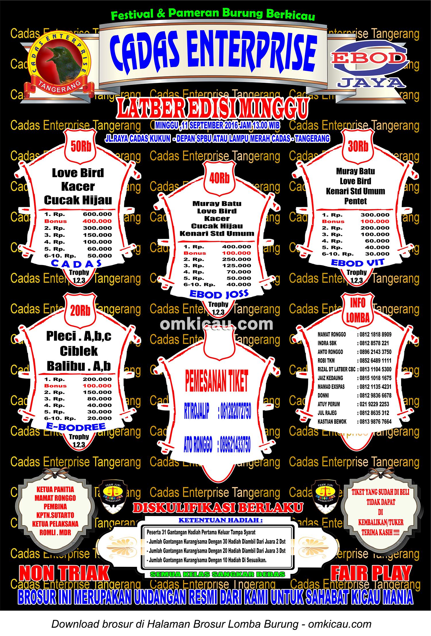 Brosur Latber Edisi Minggu Cadas Enterprise, Tangerang, 11 September 2016