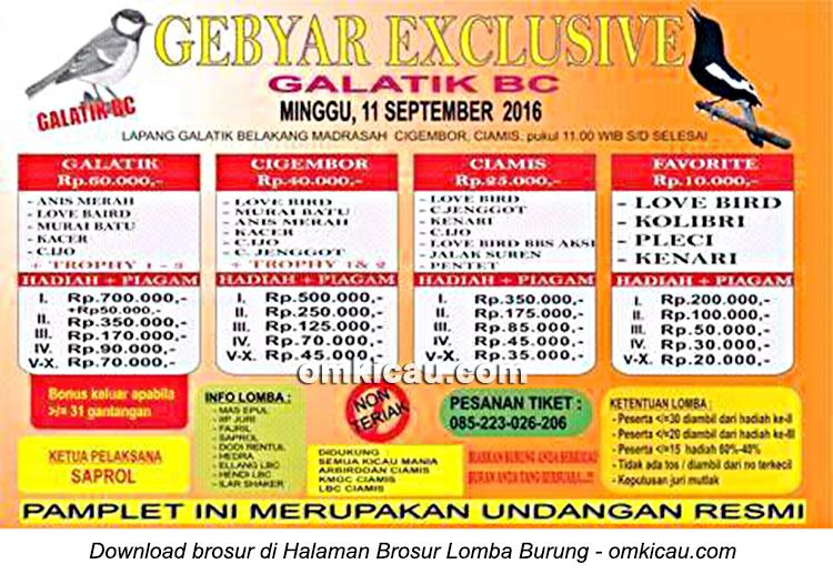 Brosur Latber Gebyar Exclusive Galatik BC, Ciamis, 11 September 2016