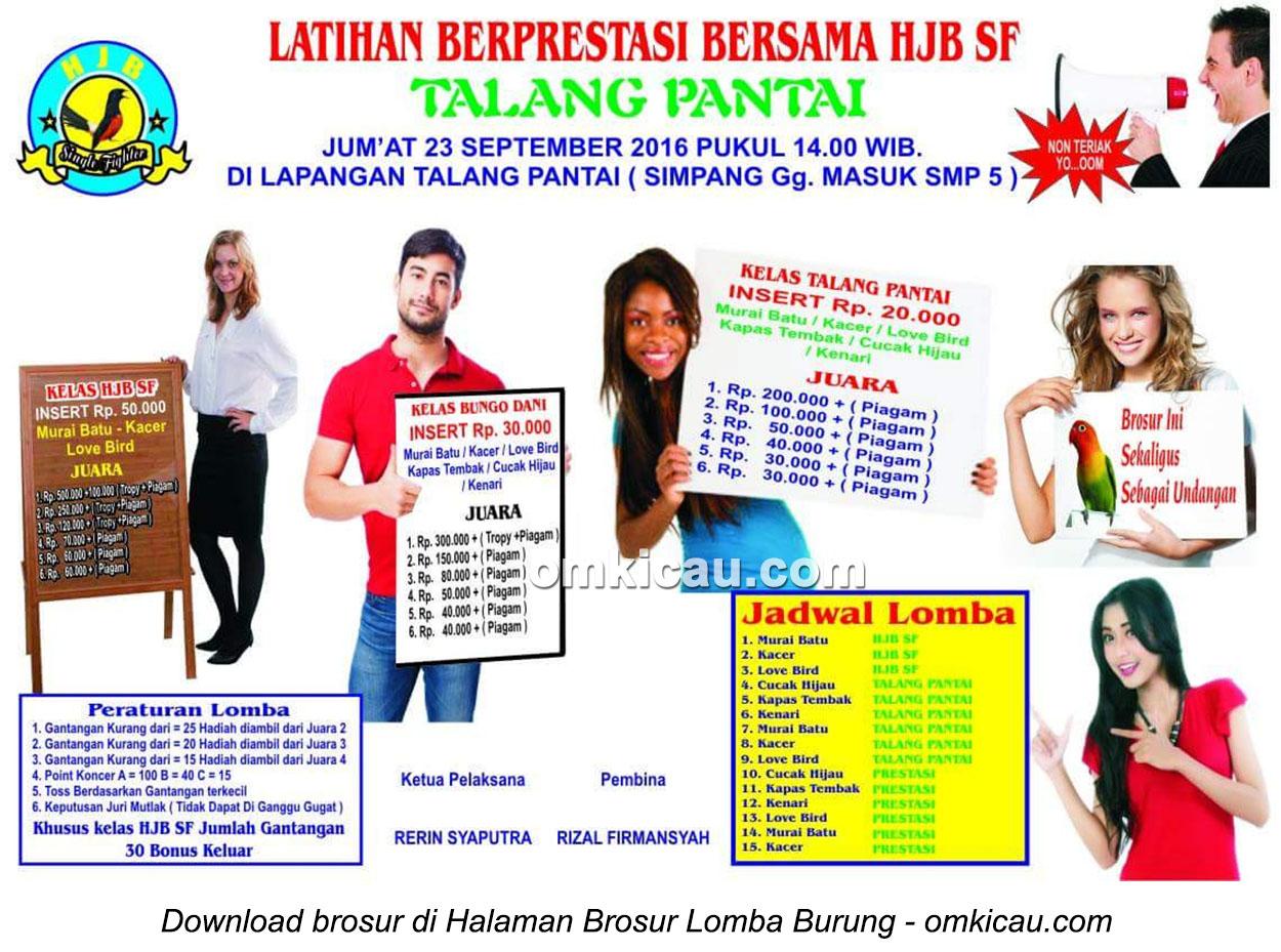 Brosur Latihan Berprestasi bersama HJB SF Talang Pantai, Kabupaten Bungo, 23 September 2016