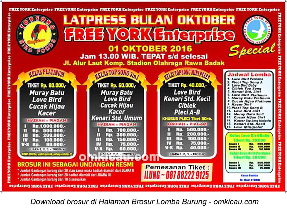 Brosur Latpres Burung Berkicau Free York Enterprise, Jakarta Utara, 1 Oktober 2016