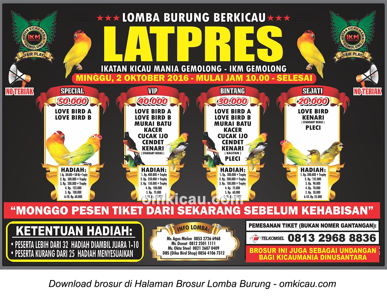 Brosur Latpres Burung Berkicau IKM Gemolong, Sragen, 2 Oktober 2016