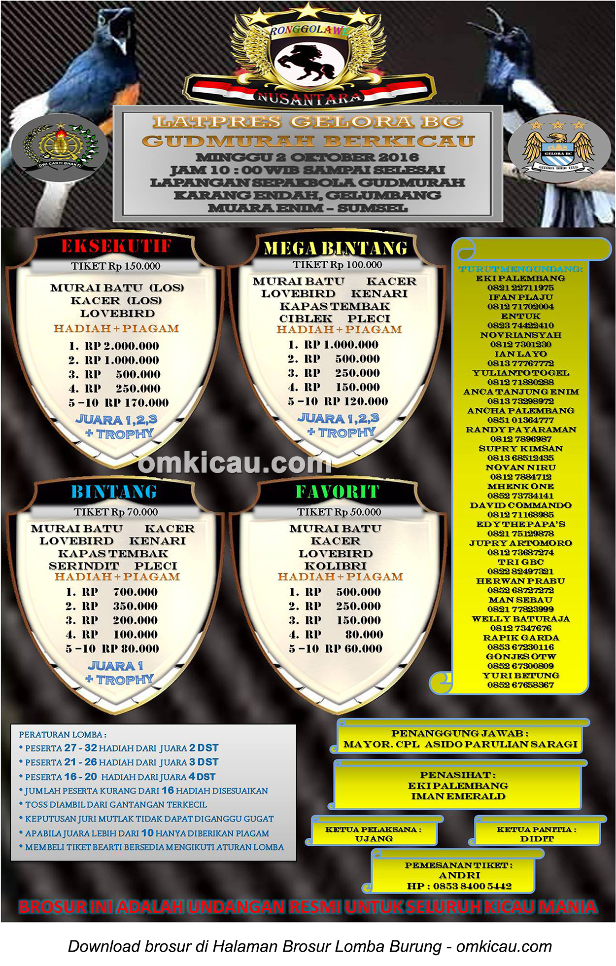 Brosur Latpres Gelora BC Gudmurah Berkicau, Muara Enim, 2 Oktober 2016