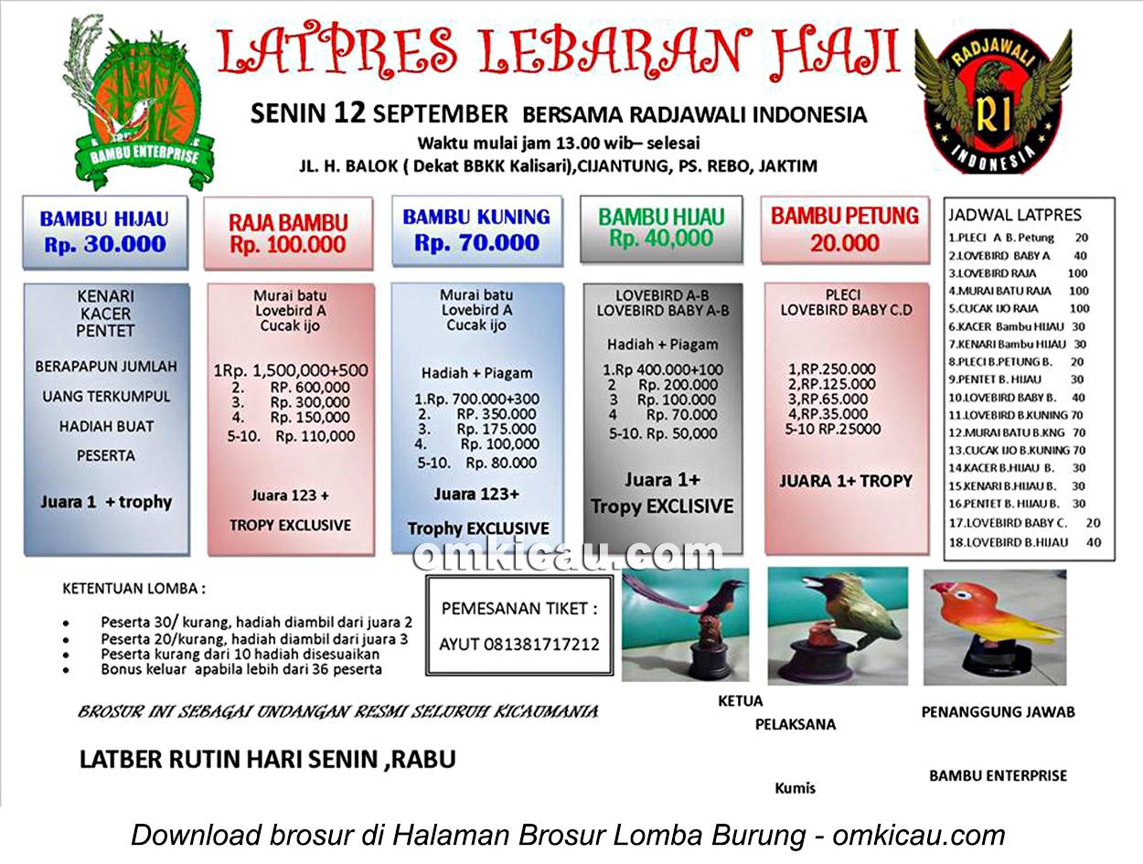 Brosur Latpres Labaran Haji bersama Radjawali Indonesia, Jakarta Timur, 12 September 2016