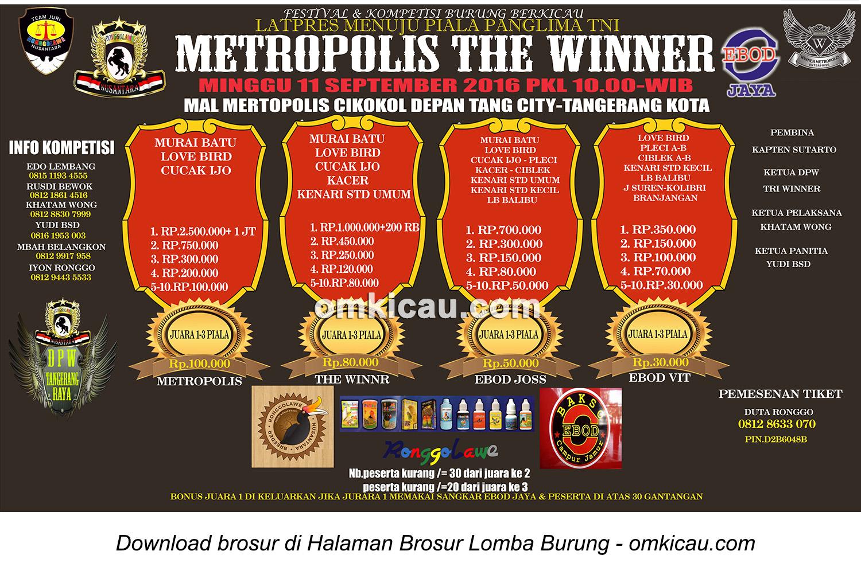 Brosur Latpres Menuju Piala Panglima TNI-Metropolis The Winner, Tangerang, 11 September 2016