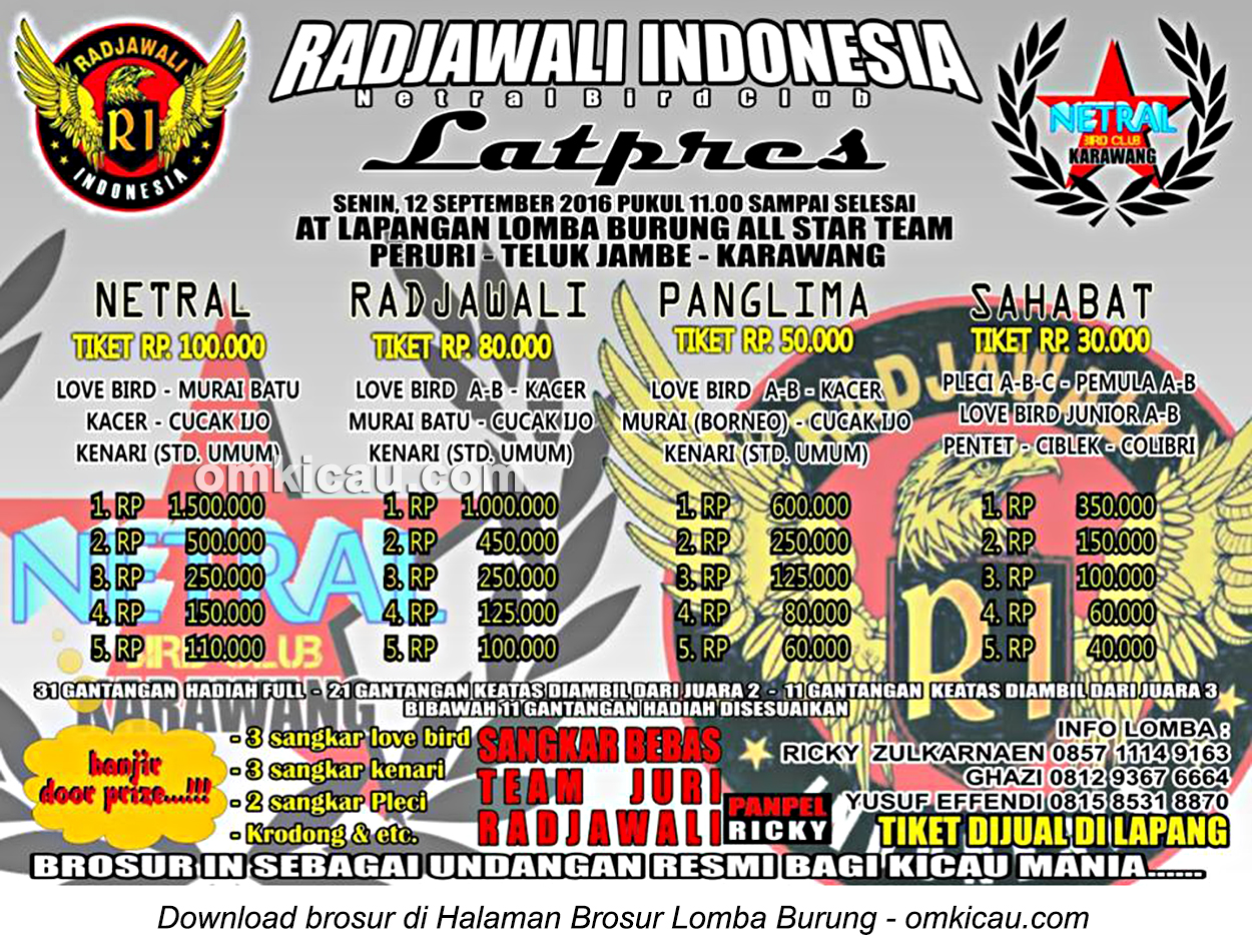 Brosur Latpres Radjawali Indonesia-Netral Bird Club, Karawang, 12 September 2016