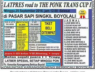 Brosur Latpres Road to The Ponk Trans Cup I, Boyolali, 25 September 2016
