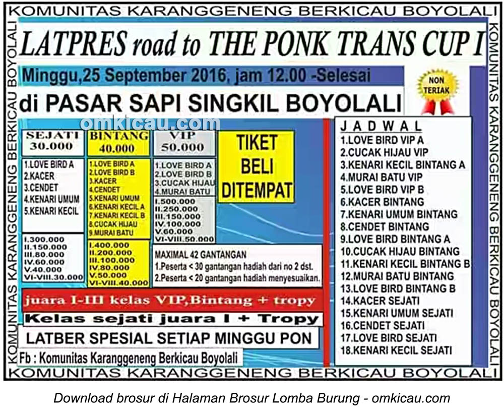 Brosur Latpres Road to The Ponk Trans Cup I, Boyolali, 25 September 2016