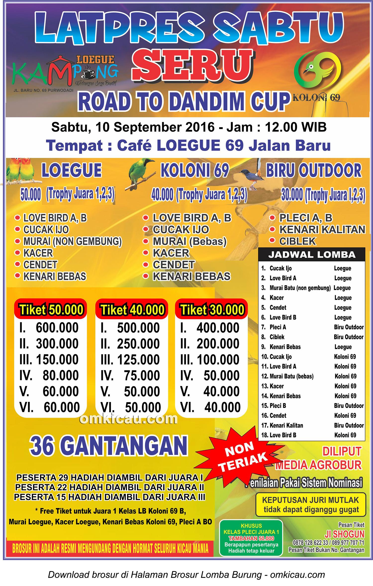 Brosur Latpres Sabtu Seru Road to Dandim Cup, Purwodadi, 10 September 2016
