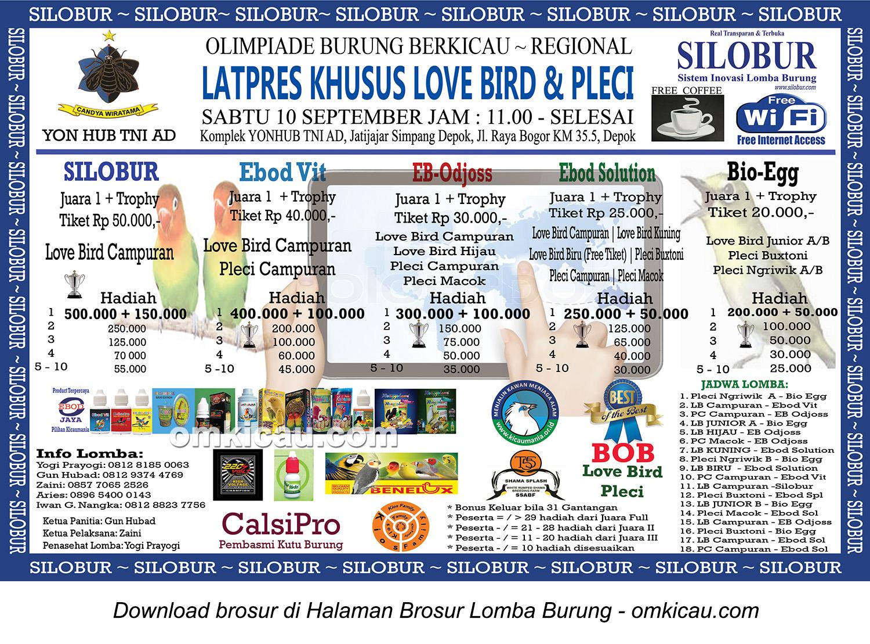 Brosur Latpres Silobur Khusus Lovebird dan Pleci, Depok, 10 September 2016