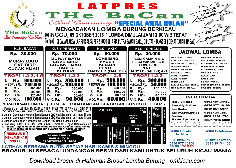 Brosur Latpres THe BaCan BC Special Awal Bulan, Tangerang Selatan, 9 Oktober 2016