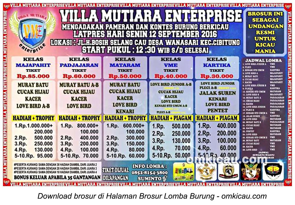 Brosur Latpres Villa Mutiara Enterprise, Bekasi, 11 September 2016