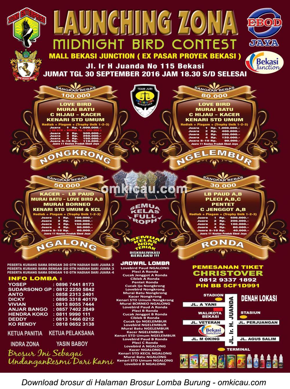 Brosur Launching Zona Midnight Bird Contest, Bekasi, 30 September 2016