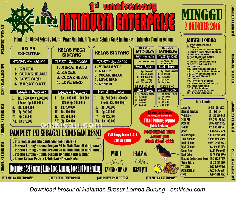 Brosur Lomba Burung Berkicau 1st Anniversary Jatimulya Enterprise, Bekasi, 2 Oktober 2016
