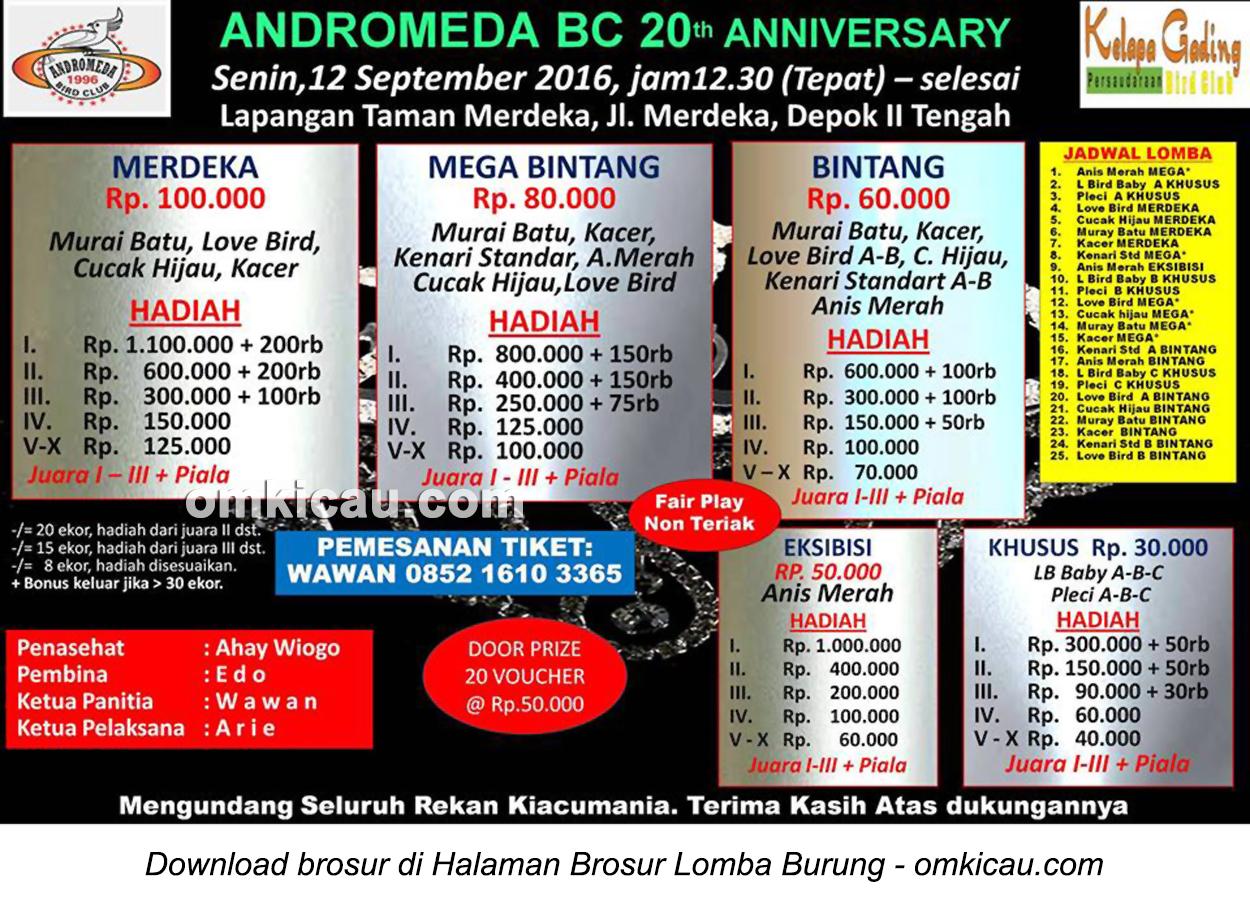 Brosur Lomba Burung Berkicau Andromeda BC 20th Anniversary, Depok, 12 September 2016