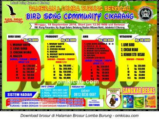 Brosur Lomba Burung Berkicau Bird Song Community, Cikarang, 18 September 2016