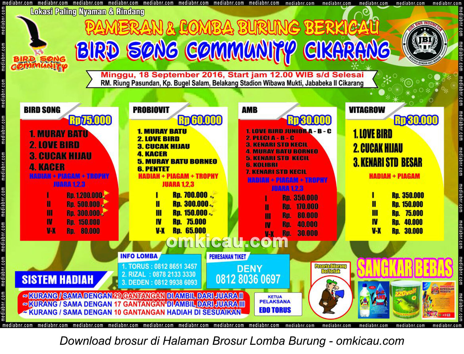 Brosur Lomba Burung Berkicau Bird Song Community, Cikarang, 18 September 2016