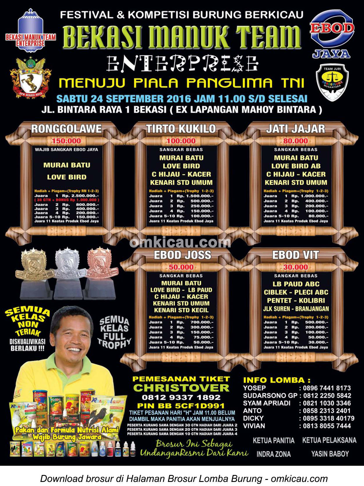 Brosur Lomba Burung Berkicau BMT Enterprise Menuju Piala Panglima TNI, Bekasi, 24 September 2016