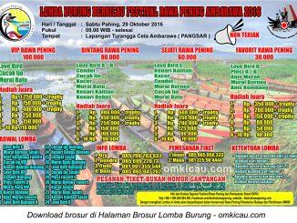Brosur Lomba Burung Berkicau Festival Rawapening Ambarawa, 29 Oktober 2016