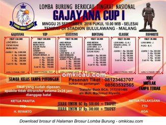 Brosur Lomba Burung Berkicau Gajayana Cup I, Malang, 25 September 2016