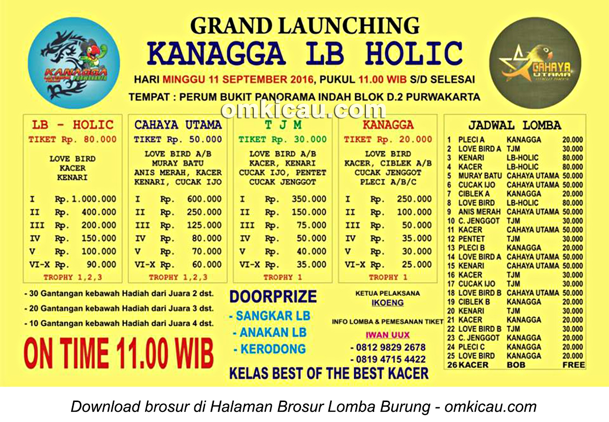 Brosur Lomba Burung Berkicau Grand Launching Kanagga LB Holic, Purwakarta, 11 September 2016