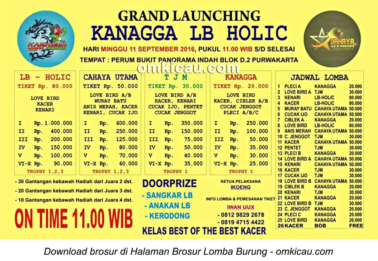 Brosur Lomba Burung Berkicau Grand Launching Kanagga LB Holic, Purwakarta, 11 September 2016