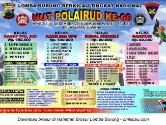 Brosur Lomba Burung Berkicau HUT Polairud Ke-66, Pati, 4 Desember 2016
