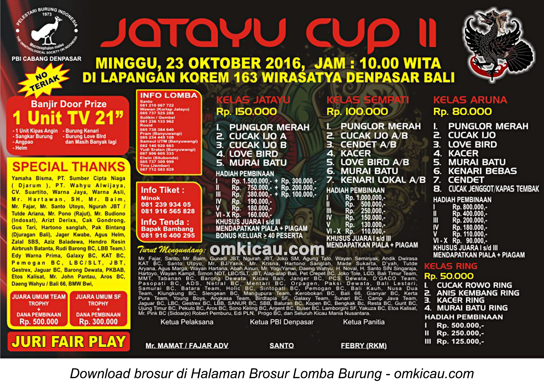 Brosur Lomba Burung Berkicau Jatayu Cup II, Denpasar, 23 Oktober 2016