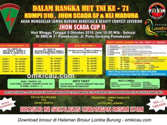Brosur Lomba Burung Berkicau Jhon Scada Cup II, Pamekasan, 9 Oktober 2016