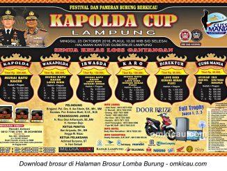 Brosur Lomba Burung Berkicau Kapolda Cup Lampung, Bandarlampung, 23 Oktober 2016
