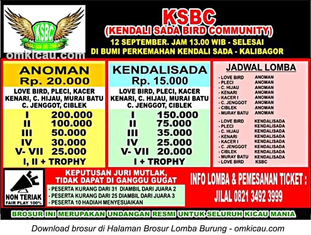 Brosur Lomba Burung Berkicau KSBC Kalibagor, Banyumas, 12 September 2016