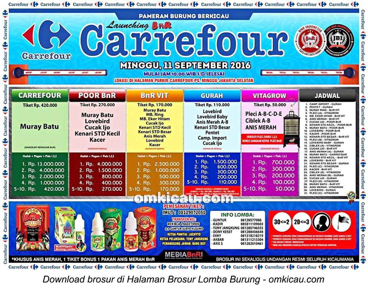 Brosur Lomba Burung Berkicau Launching BnR Carrefour, Jakarta Selatan, 11 September 2016