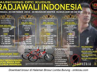 Brosur Lomba Burung Berkicau Launching Radjawali Indonesia DPC Kudus, 23 Oktober 2016
