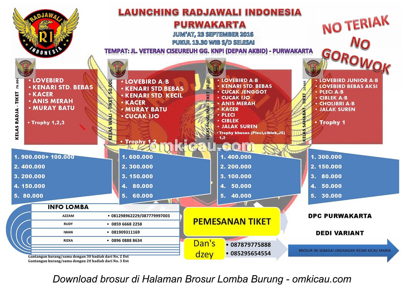 Brosur Lomba Burung Berkicau Launching Radjawali Indonesia Purwakarta, 23 September 2016