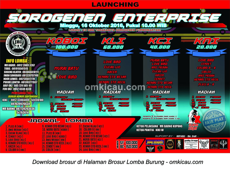 Brosur Lomba Burung Berkicau Launching Sorogenen Enterprise, Sleman, 16 Oktober 2016