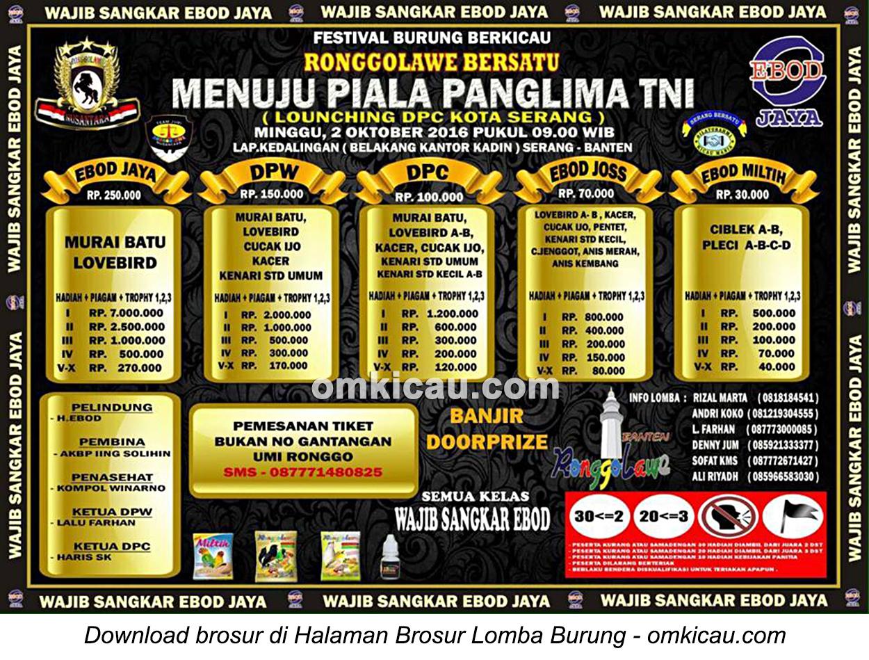 Brosur Lomba Burung Berkicau Menuju Piala Panglima TNI, Serang, 2 Oktober 2016