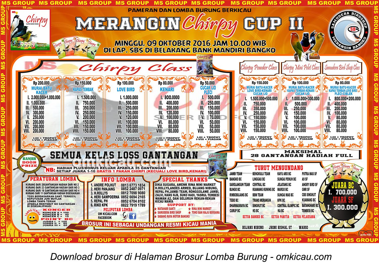 Brosur Lomba Burung Berkicau Merangin Chirpy Cup II, Bangko, 9 Oktober 2016