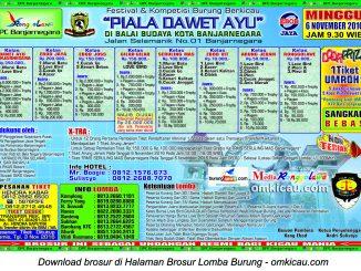 Brosur Lomba Burung Berkicau Piala Dawet Ayu, Banjarnegara, 6 November 2016