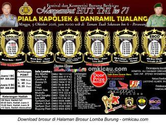 Brosur Lomba Burung Berkicau Piala Kapolsek dan Danramil Tualang, Perawang, 9 Oktober 2016