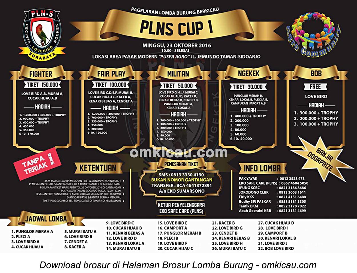 Brosur Lomba Burung Berkicau PLNS Cup 1, Sidoarjo, 23 Oktober 2016