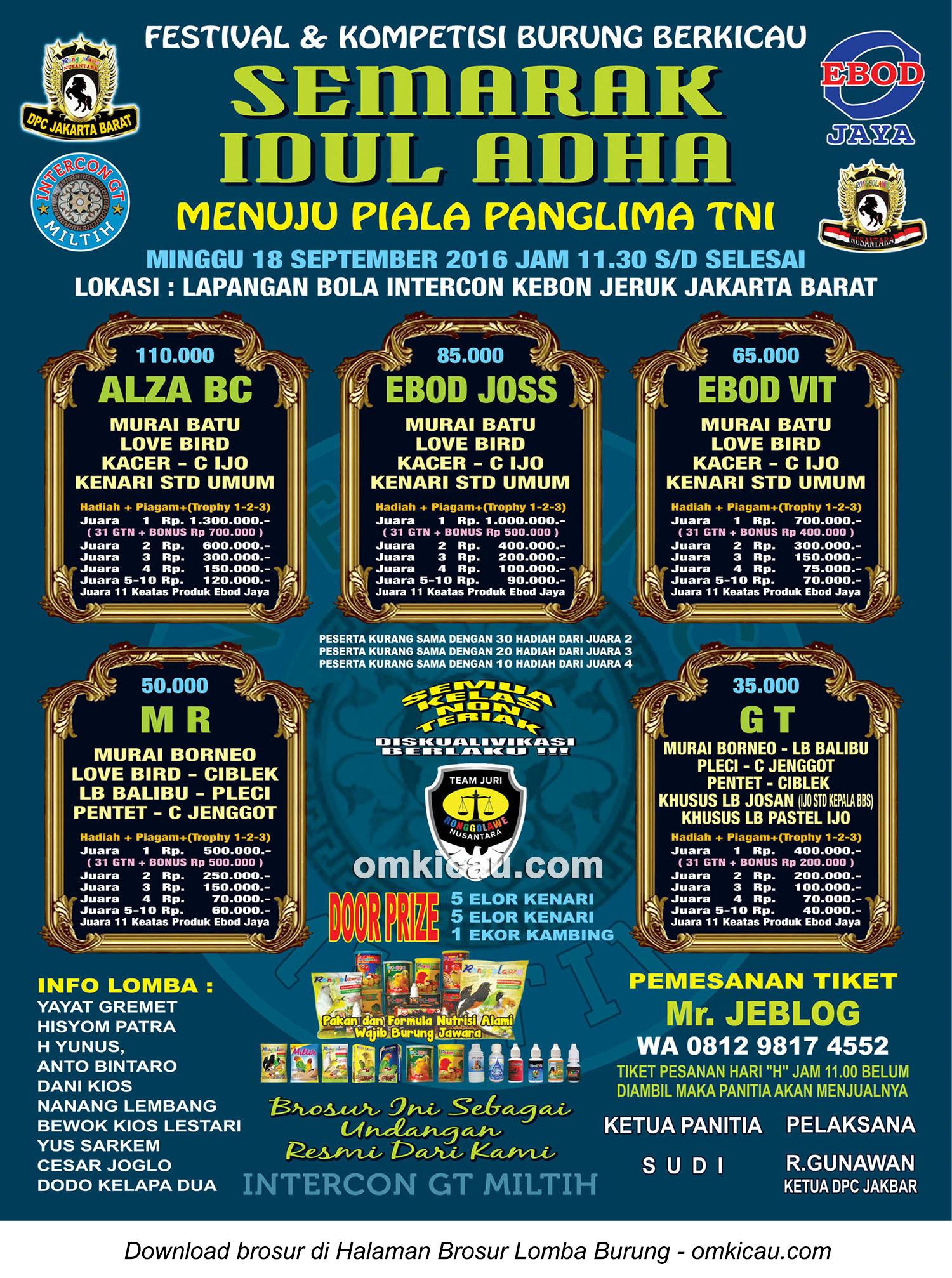 Brosur Lomba Burung Berkicau Semarak Idul Adha Intercon, GT, Jakarta Barat, 18 September 2016
