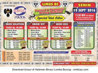 Brosur Lomba Burung Berkicau Special Idul Adha Limus BC, Bogor, 12 September 2016