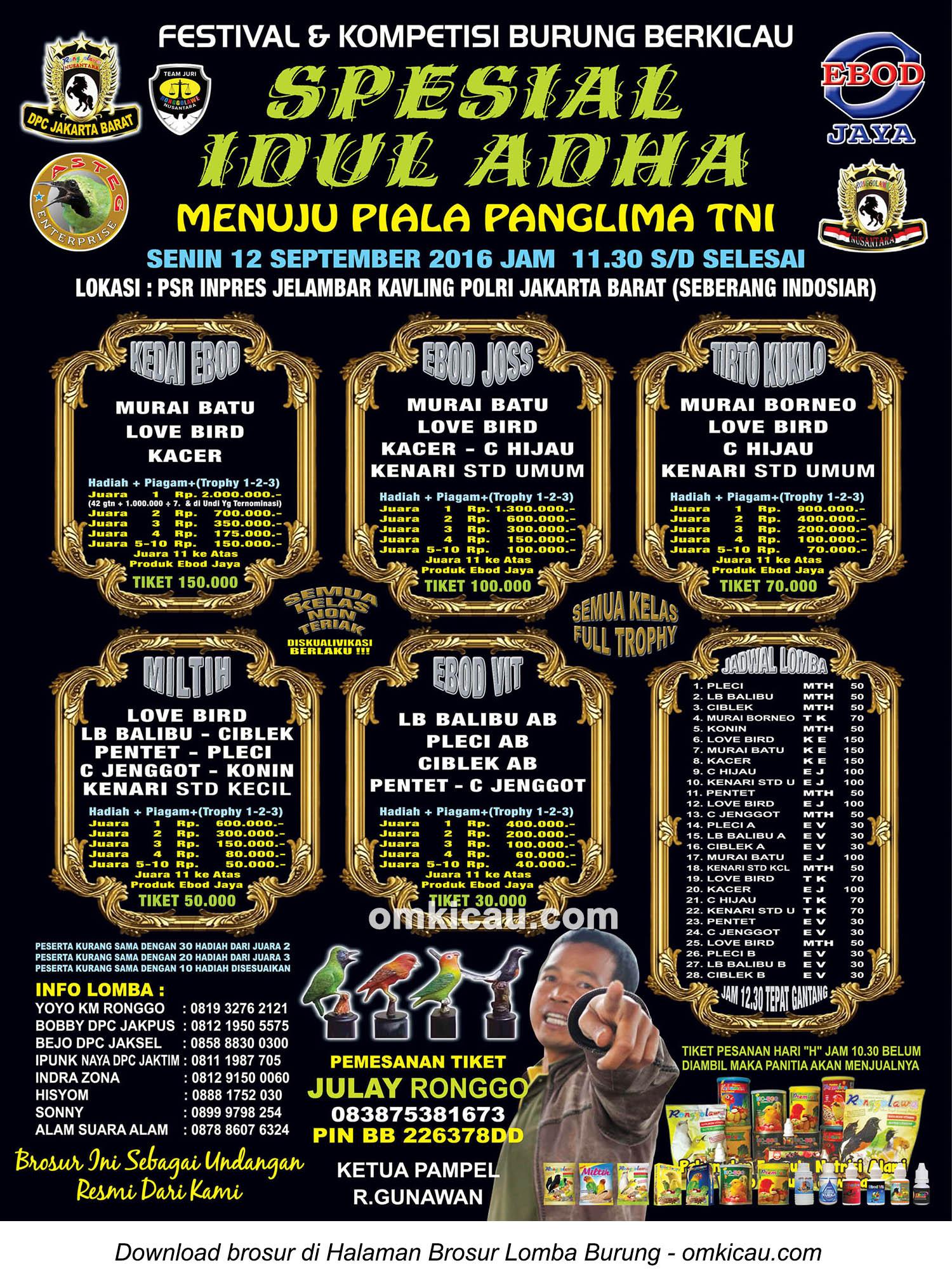 Brosur Lomba Burung Berkicau Spesial Idul Adha Asteg Ent, Jakarta Barat, 12 September 2016