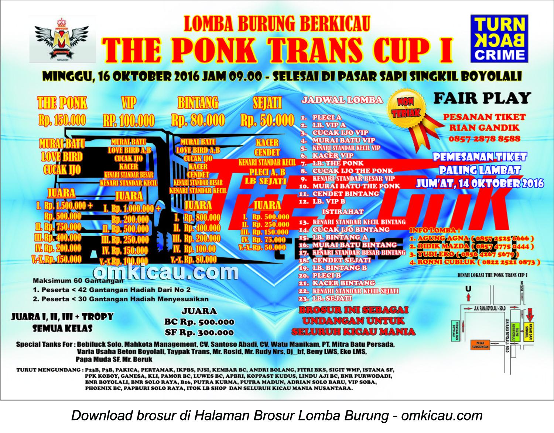 Brosur Lomba Burung Berkicau The Ponk Trans Cup I, Boyolali, 16 Oktober 2016