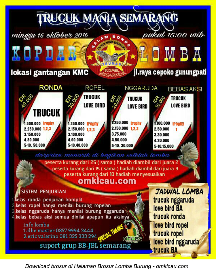 Brosur Lomba Burung Berkicau Trucuk Mania Semarang, 16 Oktober 2016