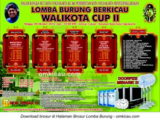 Brosur Lomba Burung Berkicau Wali Kota Cup II, Jogja, 9 Oktober 2016