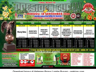 Brosur Revisi Final Road to Presiden Cup IV, Jakarta, 18 September 2016