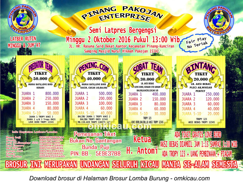 Brosur Semi Latpres Bergengsi Pinang Pakojan Enterprise, Tangerang, 2 Oktober 2016