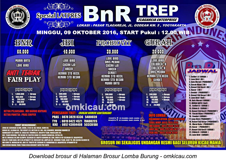 Brosur Spesial Latpres BnR TREP, Jogja, 9 Oktober 2016