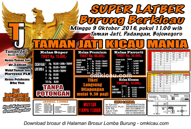 Brosur Super Latber Taman Jati Kicau Mania, Bojonegoro, 9 Oktober 2016